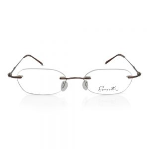 Smooth Rimless Eyewear Optical Eyeglasses Frame Dark Brown